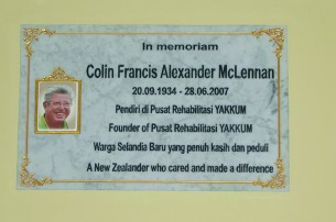 The Colin McLennan Memorial plaque in Yogyakarta